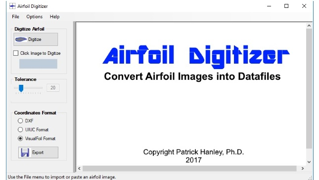Convert airfoil image to DXF file